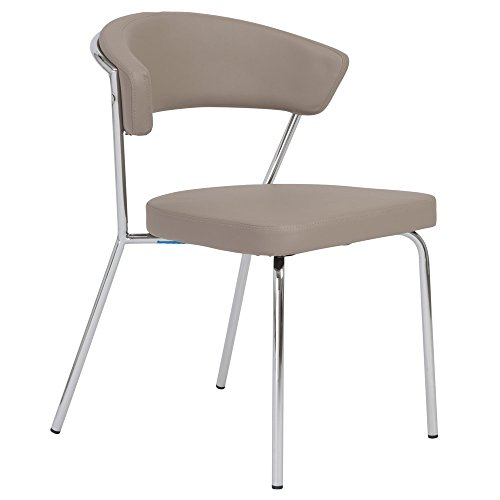 Zuri Furniture Lafayette Armless Dining Chair in Taupe with Chromed Steel Frame - Set of 4 ()