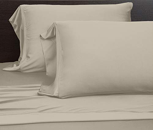 COOLEX Ultra-Soft Bed Sheet Set - Moisture Wicking, Wrinkle, Fade, Stain Resistant (Queen, Khaki)