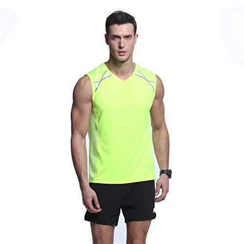 (Men's Slim-Fit Mesh Stretchy Reflective Trim Tank Top Quick-Dry Moisture Wicking Sleeveless Shirts Green)