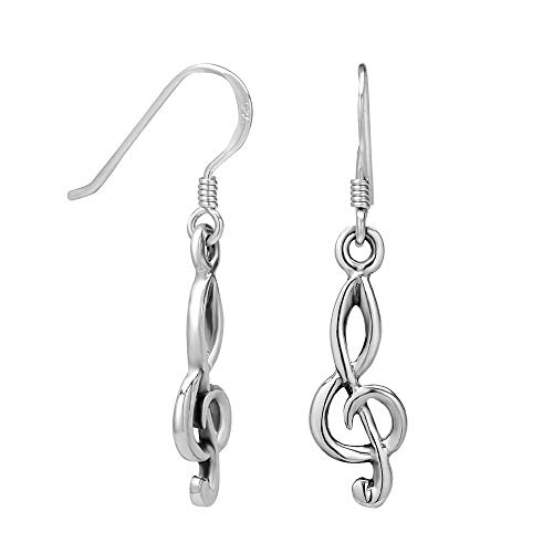 (925 Sterling Silver Treble G Clef Musician Dangle Hook)