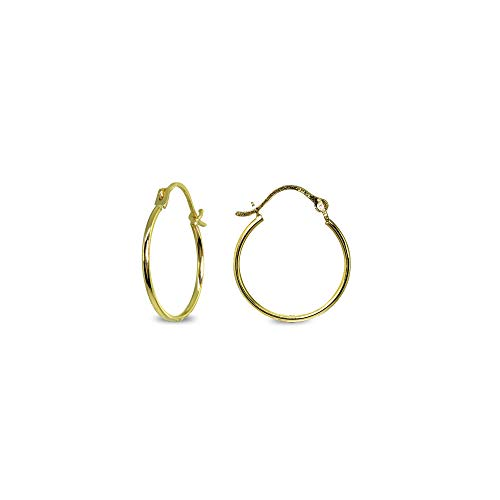 14K Gold Tiny Small 16mm High Polished Round Thin Lightweight Unisex Click-Top Hoop Earrings for Women Girls Teens