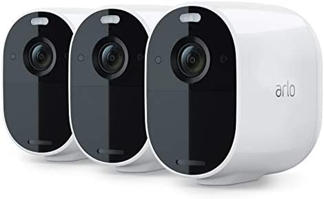 Arlo Essential Spotlight Camera 3 Pack Wire-Free, 1080p Video Color Night Vision, 2-Way Audio, 6-Month Battery Life, Motion Activated, Direct to WiFi, No Hub Needed Works with Alexa White