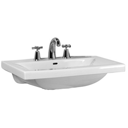 White Complete Pedestal Lavatory (Barclay 3-264WH Mistral 510 Pedestal Lavatory with 3 Holes)