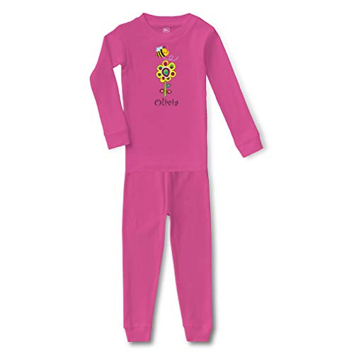 Personalized Custom Flower and Bee Cotton Crewneck Boys-Girls Infant Long Sleeve Sleepwear Pajama 2 Pcs Set Top and Pant - Hot Pink, -