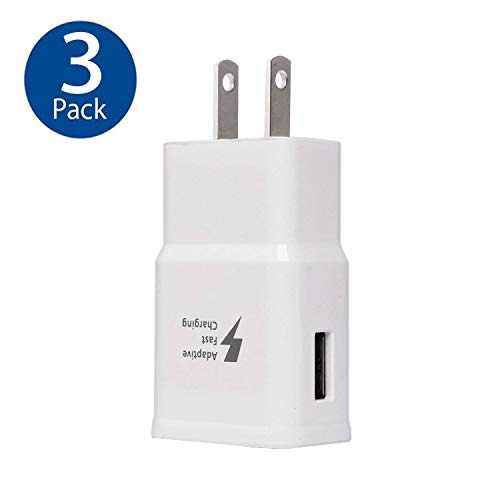 (Samsung Adaptive Fast Charging Wall Adapter for Galaxy S6 S7 S8 S9 S10 / Edge/Plus/Active, Note 5,Note 8, Note 9 and More-EP-TA20JBE Quick Charge USB Wall Charger Plug(White 3)
