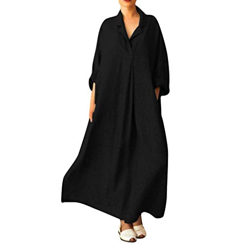 LISTHA V Neck Cotton Linen Maxi Dress Women Plus Size Cross Shirts Long Dress Black -