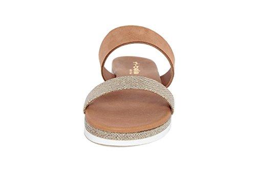Piel de Sandalias mujer RI BELLE Natural Gold para marrón Tqvxpw