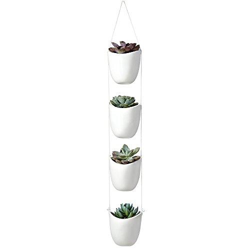Modern Decorative Ceramic Rope Hanging Planter with 4 Succulent Plant Pots, White (Planters Ceramic Hanging)