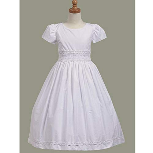 Lito Communion Dress Girls 10 White Cotton Smocked Short Sleeve]()