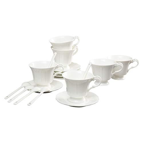 ufengke 4oz Flora Coffee Cup Set,Small Capacity Porcelain Coffee Tea Sets,Set of 6,Hexagonal Edge Ceramic Tea Cup and Saucer-White