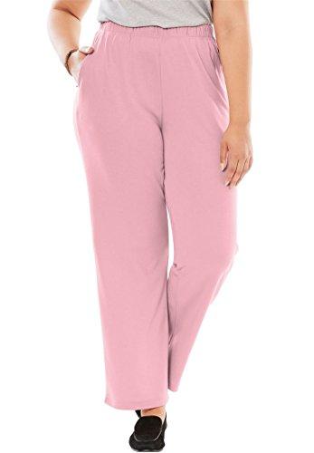 Women's Plus Size 7-Day Knit Wide Leg Pant Rose (Rose Knit Pants)