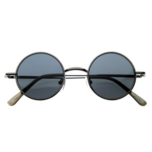 zeroUV - Small Retro-Vintage Style Lennon Inspired Round Metal Circle Sunglasses (Gunmetal)