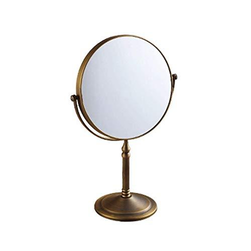 Makeup mirror Antique Copper Mirror Bathroom 3x Magnifying Glass Desktop Mirror HD -
