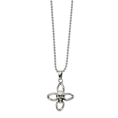 FB Jewels Stainless Steel Polished and Oxidized with Cubic Zirconia CZ Skull Cross 22In Necklace