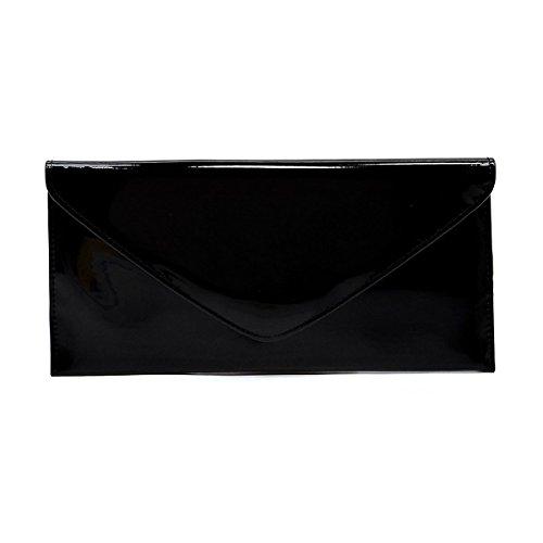 Elphis Patent Vegan Envelope Clutch Handbag Shinny PU Evening Bag (Black) Black Patent Leather Clutch