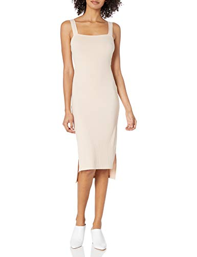 This luxe ribbed dress has a high/low hem and body-hugging fit