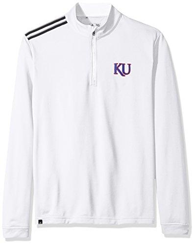 NCAA Kansas Jayhawks Adult Men Spring Game 3-Stripe 1/4 Zip Pullover,Medium,White