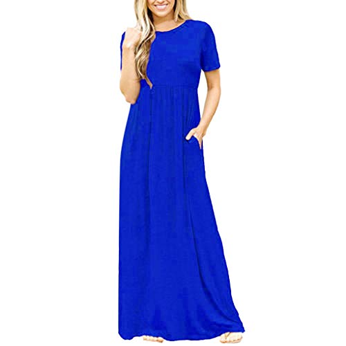 ★QueenBB★ Women's Casual Loose Pocket Long Dress Short Sleeve Split Maxi Dresses with Pockets Blue
