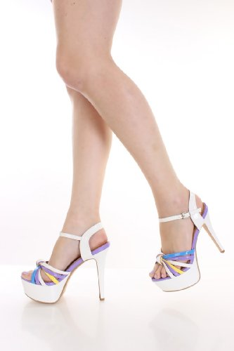 Shiny Patent Strappy Platform Sandals Heels White AlziVB