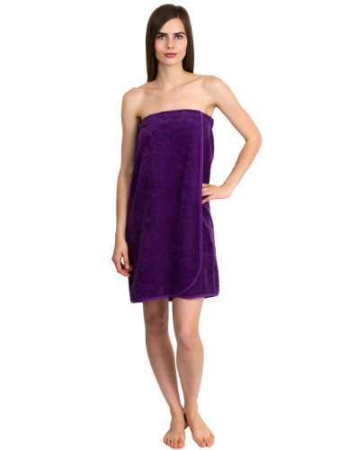 (TowelSelections Women's Wrap, Shower & Bath, Terry Spa Towel Small Purple)