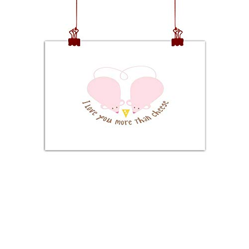 Outdoor Nature Inspiration Poster Wilderness I Love You More,Pink Rats with Tangled Tails Forming a Heart Sweet Valentines,Pale Pink Cocoa Yellow 36