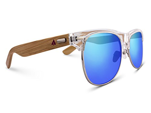 TREEHUT Wooden Bamboo Sunglasses Temples Half Frame Rim Vintage (Transparent, - Woody Sunglasses