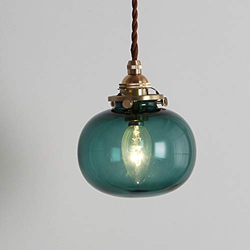 Phwii Hanging Pendant Lighting Fixture Green Glass Shade with Brass Finish Height Adjustable Vintage Modern One-Light Ceiling Lamp ()