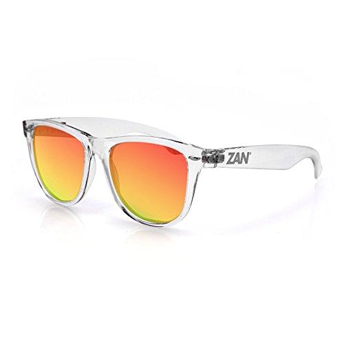 Zanheadgear Mint Sunglasses, Crystal Clear Frame, Smoked Crimson Mirror Lenses
