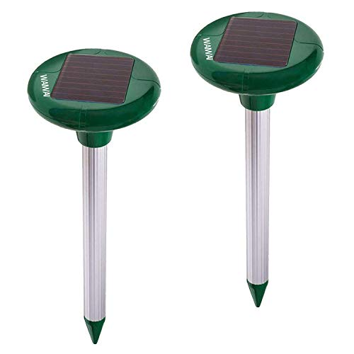 WAIWAI Solar Mole Repellent 2 Pack, Sonic Mole Deterrent Pest Rodent Repellant, Chaser Mole,Gopher,Vole Repeller Spikes Yard Lawn Garden,Waterproof-IP44 by WAIWAI