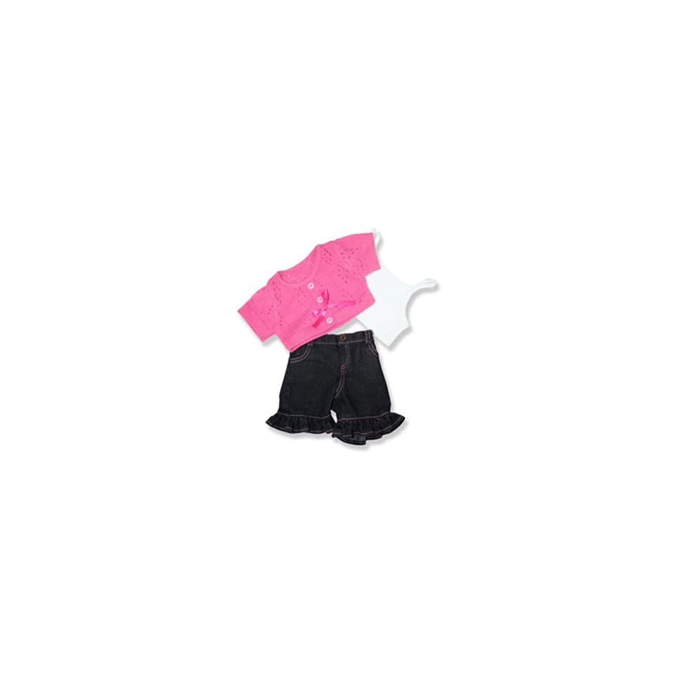 """Pink Sweater and Frill Pants Outfit Teddy Bear Clothes Fits Most 14""""   18"""" Build a bear, Vermont Teddy Bears, and Make Your Own Stuffed Animals Toys & Games"""