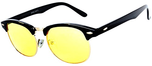 Retro Classic Wayfarer Sunglasses Metal Half Frame With Colored Lens Uv 400 (Black-Silver-grd-Yellow, - Sunglasses Wayfarer Colored