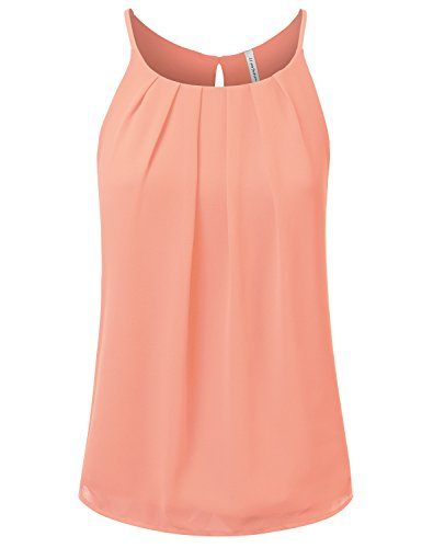 JJ Perfection Women's Round Neck Front Pleated Chiffon Cami Tank Top Peach M