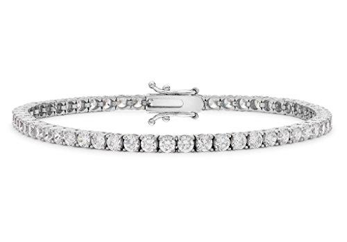 """9ct or blanc 2mm ronde Transparent Pierre de Tennis Bracelet 19cm/7,5"""""""