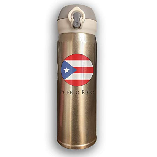 Dicobrune Double Wall Vacuum Insulated Stainless Steel Sports Water Bottle,Puerto Rico Circular Logo Stainless Steel Leak Proof Thermos 17 - King Thermo Thermometer