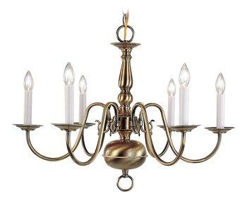 Brass 1 Light Chandelier (Livex Lighting 5006-01 Williamsburg 6 Light Antique Brass Chandelier)