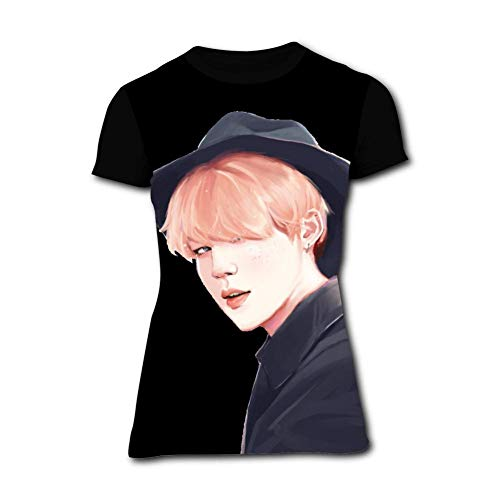 Women's T-Shirts Jimin-Fanart-BTS Short Sleeve Girl's Shirts Casual Workout Training Tee Black]()