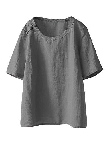 LaovanIn Women's Summer Linen Tunic Tops Casual Plus Size T-Shirt Blouse XX-Large Gray