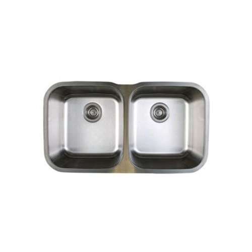 Blanco BL441020 Stellar 8-Inch Equal Double Bowl Sink, Refined Brushed