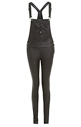 SS7 NEW Dungarees Skinny Wax Wet Look Womens Size 6 - 14