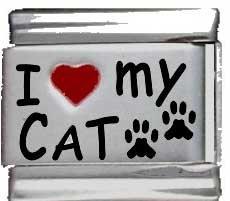 (I Heart My Cat Red Heart Laser Italian Charm)