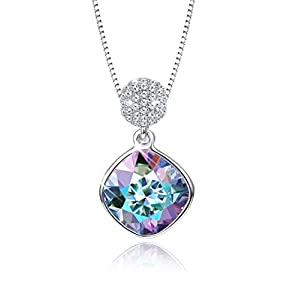 KesaPlan Womens Square Aurora Borealis Crystal Pendant Necklace, Made of Swarovski Crystals, Comes with Platinum-Plated…