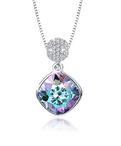 (KesaPlan Womens Square Aurora Borealis Crystal Pendant Necklace, Made of Swarovski Crystals, Comes with Platinum-Plated Chain for Hypoallergenic, Jewelry Gift)