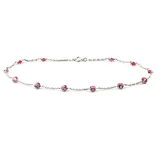 14k White Gold Anklet Bracelet With 4mm Pink Round Shaped Cubic Zirconia (9 - 11 Inches) by amazinite