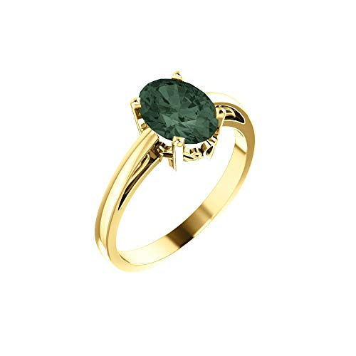 Bonyak Jewelry Lab-Created Alexandrite 14k Yellow Gold Chatham Created Alexandrite Ring - Size - Ring Alexandrite Chatham Gold