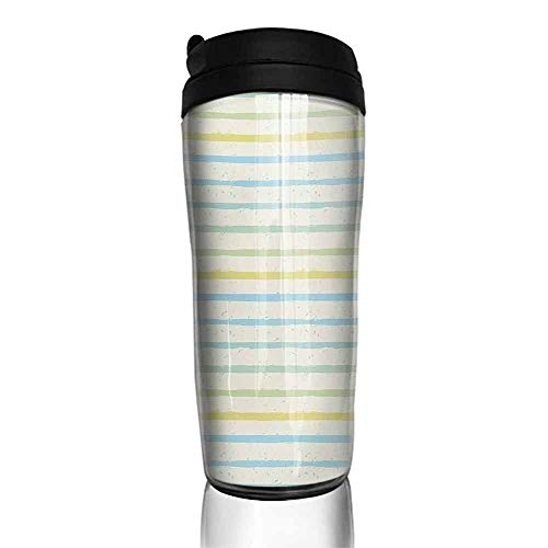 coffee cups warmer Striped,Watercolor Paint Brush Pattern in Pastel Tone with Grunge Effects Nouveau Artwork,Multicolor 12 oz,reusable cup for iced coffee