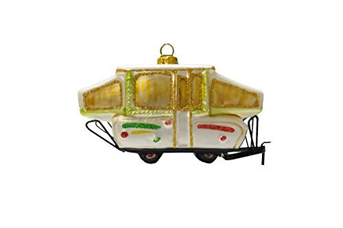 Pop-Up Camper, Glass made our list of the most unique camping Christmas tree ornaments to decorate your RV trailer Christmas tree with whimsical camping themed Christmas ornaments!