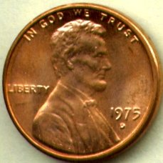 Lincoln Memorial Cent Roll - 1975-D Lincoln Memorial Cents Bank Roll, Uncirculated