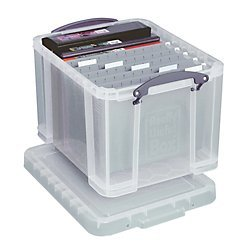 Really Useful Boxes(R Plastic Storage Box, 32 Liters, 12in.H x 14in.W x 19in.D, Clear, 32C