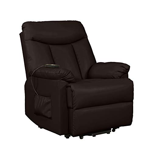 (Domesis Renu Leather Wall Hugger Power Lift Chair Recliner, Brown Renu Leather)
