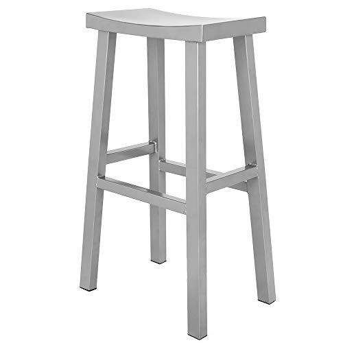 Renovoo Steel Saddle Seat Bar Stool, Commercial Quality, Silver Powder Coated Finish, 30 inches Seat Height, Indoor and Porch Use, 1 Pack